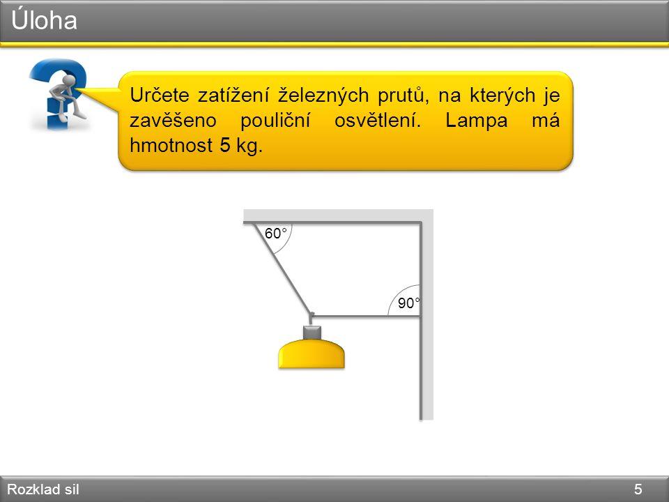 Úloha Určete zatížení železných prutů, na kterých je zavěšeno pouliční osvětlení. Lampa má hmotnost 5 kg.
