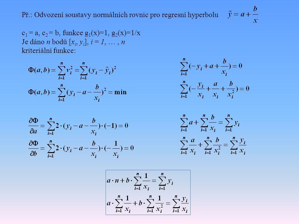 Př.: Odvození soustavy normálních rovnic pro regresní hyperbolu