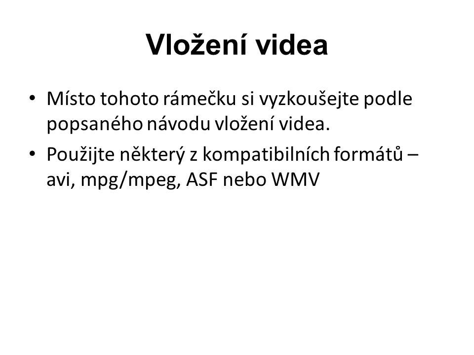 Vložení videa Místo tohoto rámečku si vyzkoušejte podle popsaného návodu vložení videa.