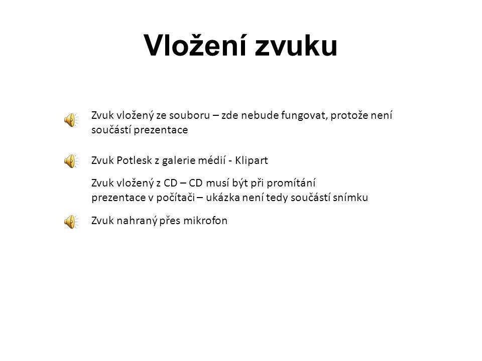 Vložení zvuku Zvuk vložený ze souboru – zde nebude fungovat, protože není. součástí prezentace. Zvuk Potlesk z galerie médií - Klipart.