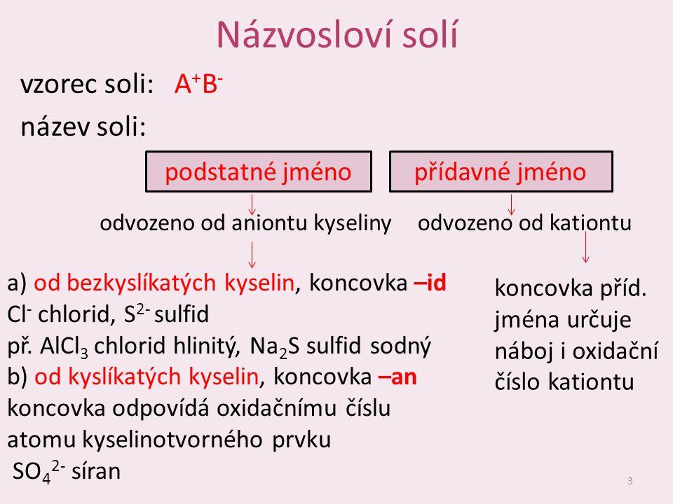 Názvosloví solí vzorec soli: A+B- název soli: podstatné jméno