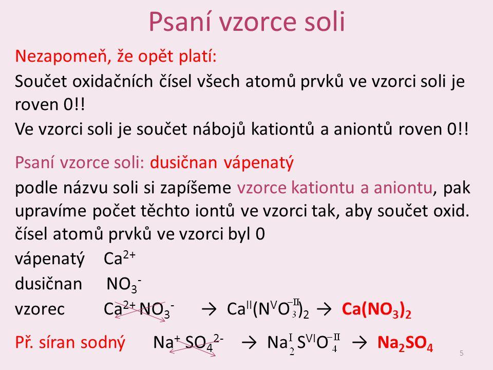 Psaní vzorce soli