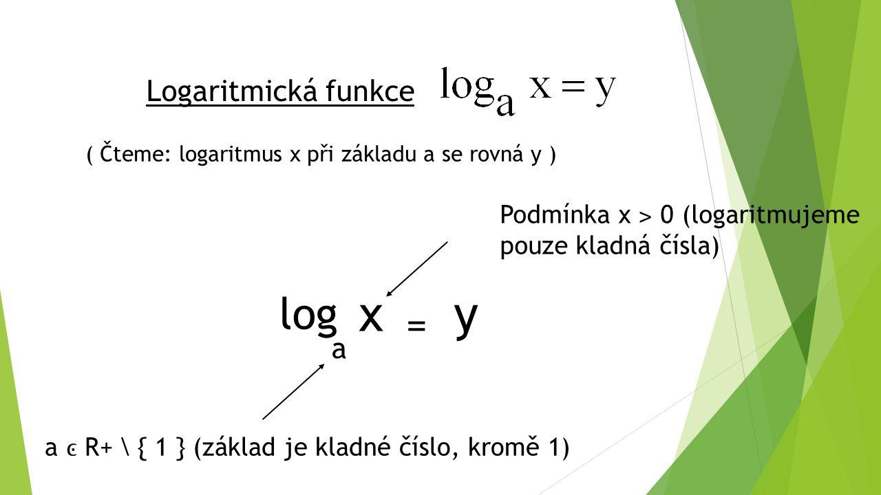 x y log = Logaritmická funkce a
