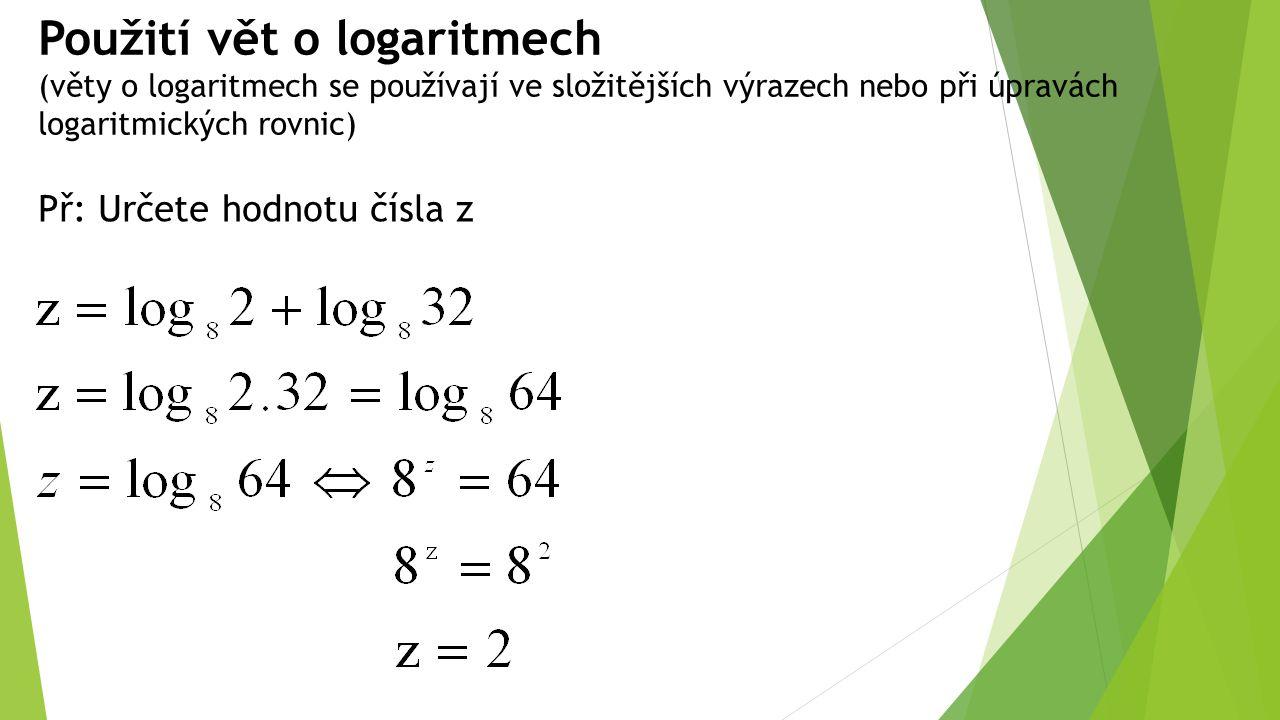 Použití vět o logaritmech