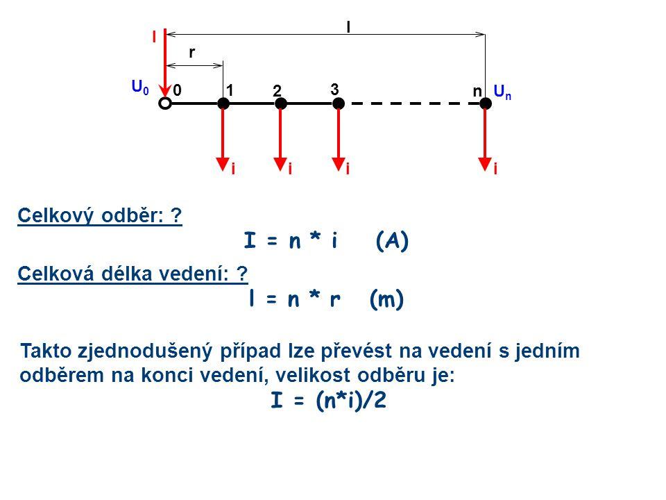 I = n * i (A) l = n * r (m) I = (n*i)/2 Celkový odběr: