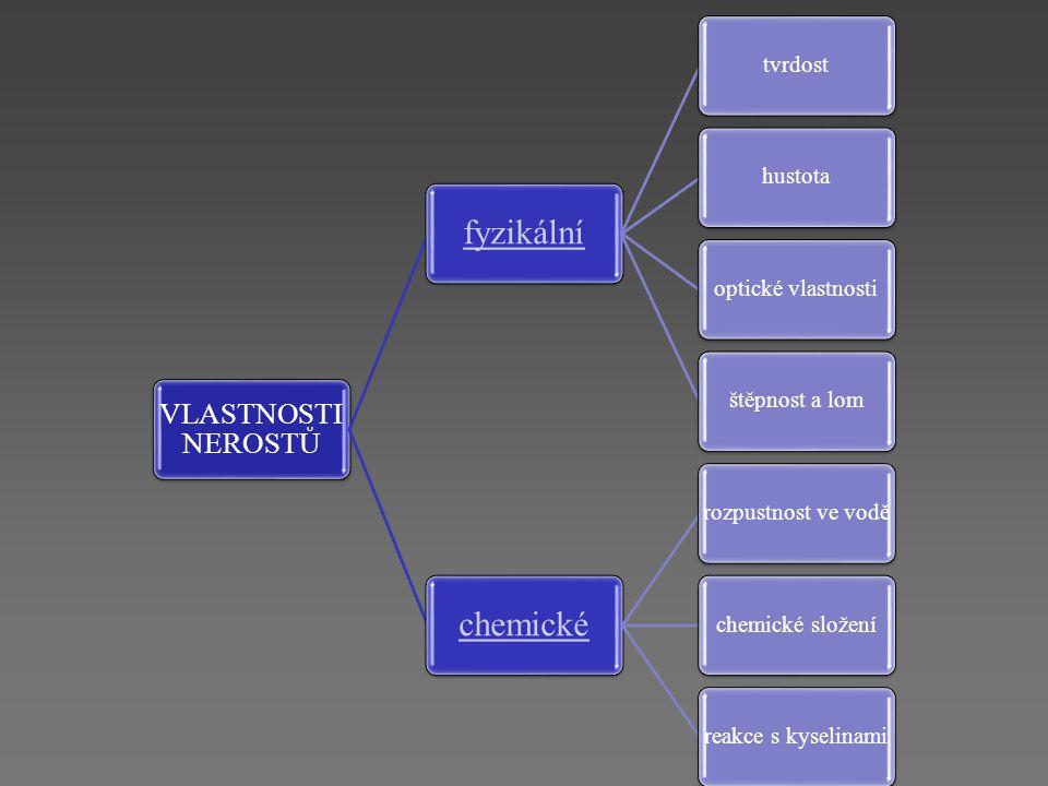 fyzikální chemické VLASTNOSTI NEROSTŮ tvrdost hustota