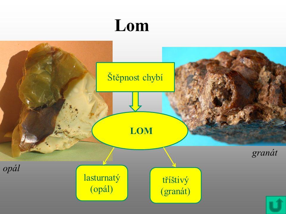 Lom Štěpnost chybí LOM granát opál lasturnatý (opál) tříštivý (granát)