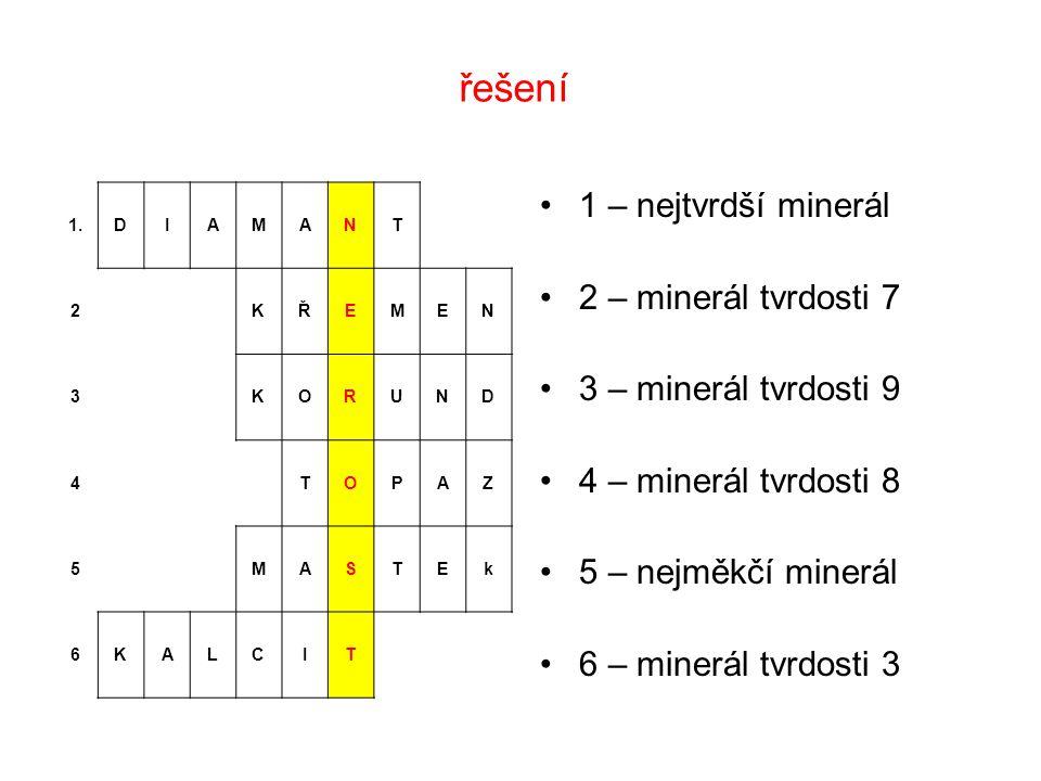 řešení 1 – nejtvrdší minerál 2 – minerál tvrdosti 7