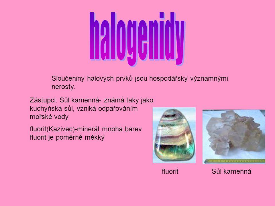halogenidy Sloučeniny halových prvků jsou hospodářsky významnými nerosty.