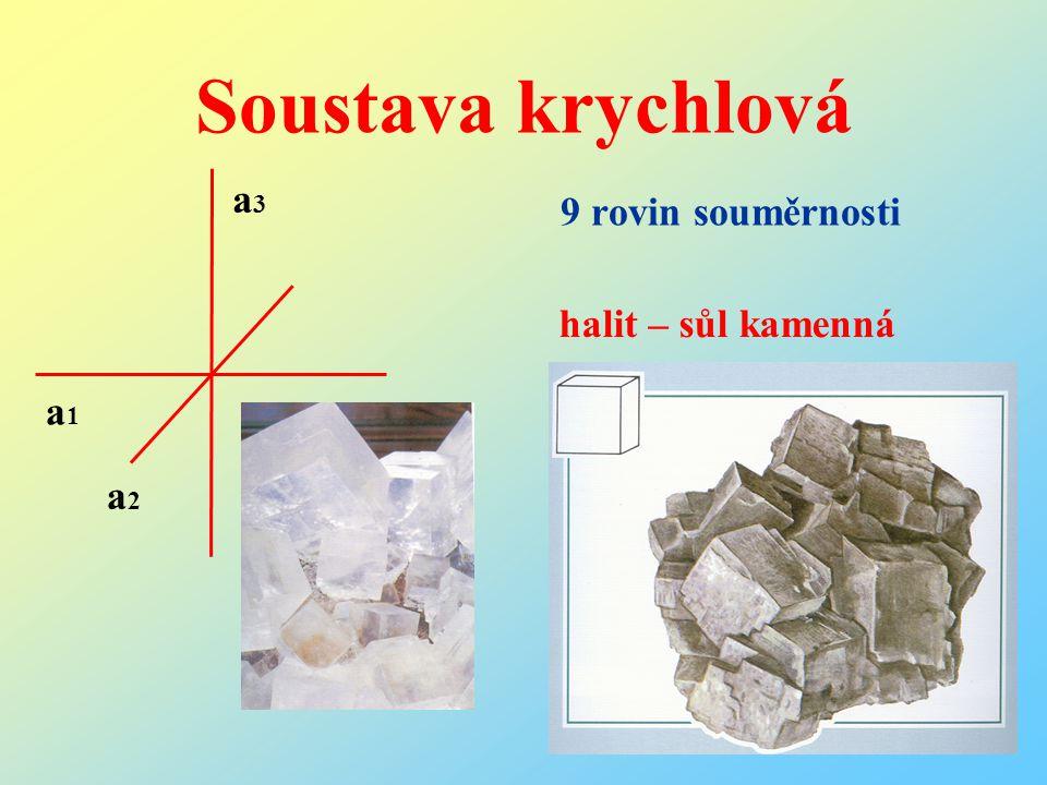Soustava krychlová 9 rovin souměrnosti a3 halit – sůl kamenná a1 a2