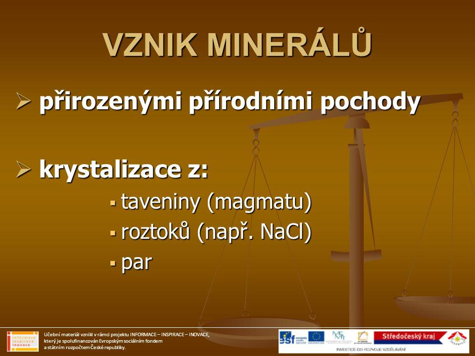 VZNIK MINERÁLŮ přirozenými přírodními pochody krystalizace z:
