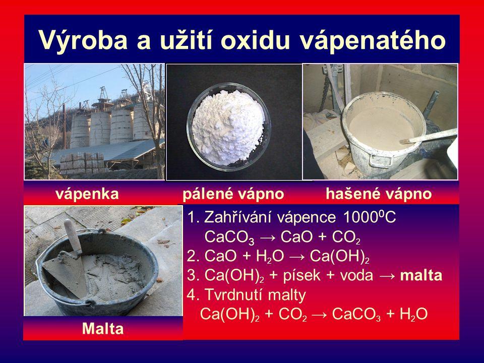 Výroba a užití oxidu vápenatého