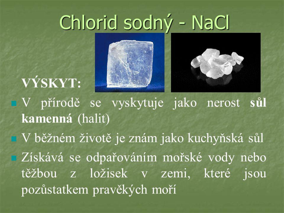 Chlorid sodný - NaCl VÝSKYT: V přírodě se vyskytuje jako nerost sůl kamenná (halit) V běžném životě je znám jako kuchyňská sůl.
