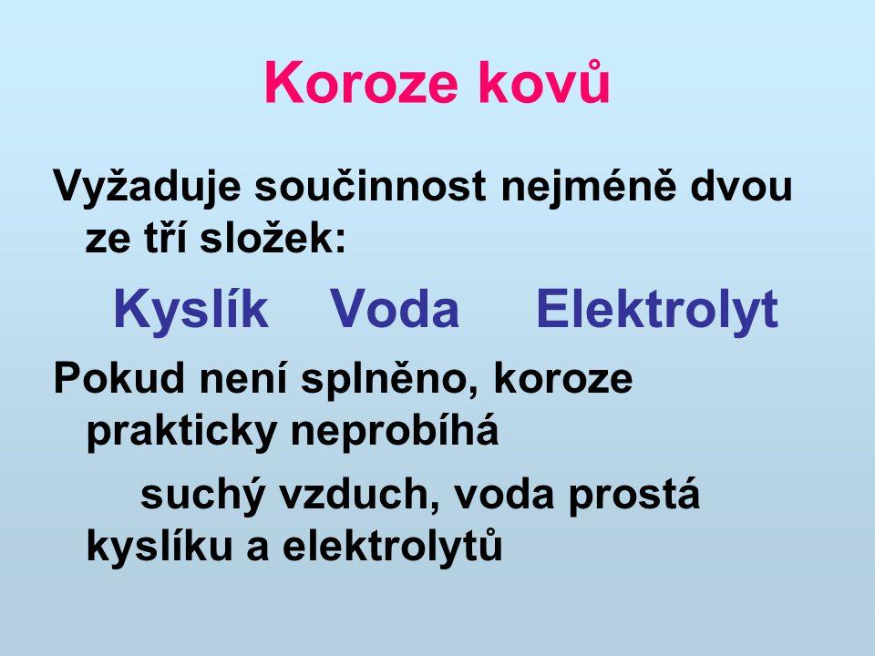 Koroze kovů Kyslík Voda Elektrolyt