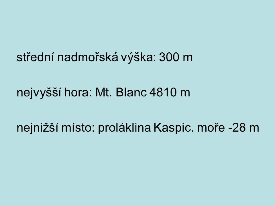 střední nadmořská výška: 300 m