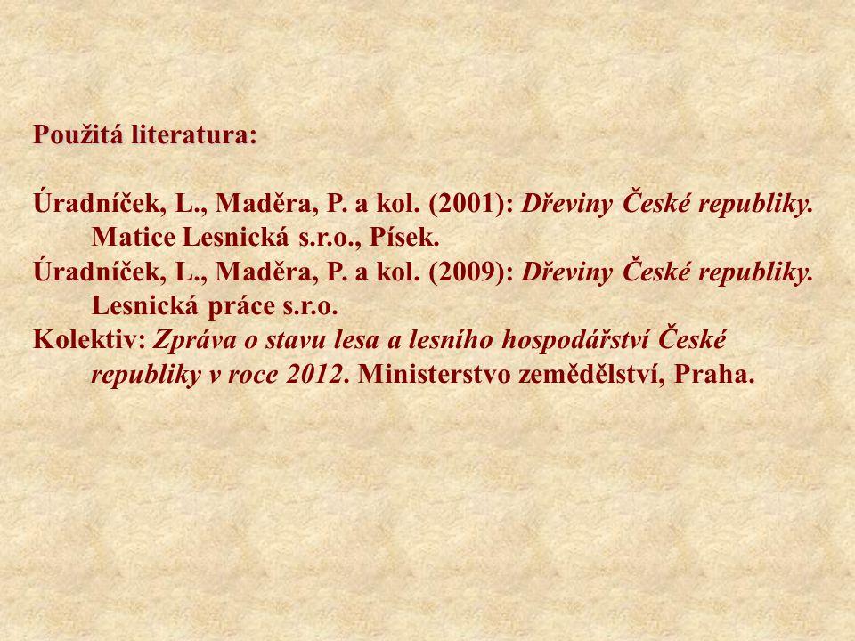 Použitá literatura: Úradníček, L., Maděra, P. a kol. (2001): Dřeviny České republiky. Matice Lesnická s.r.o., Písek.