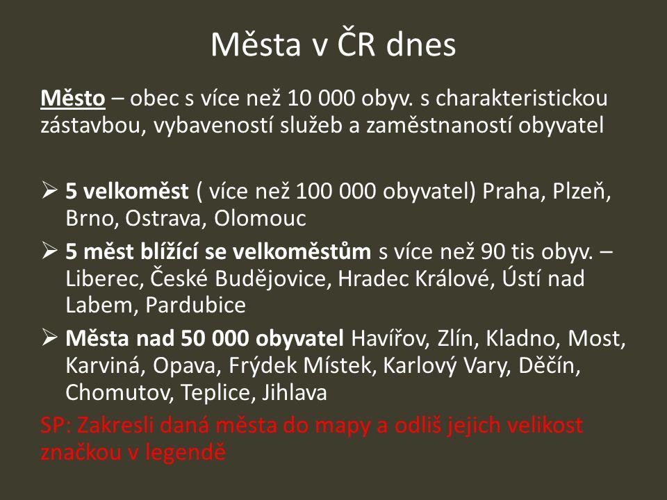 Města v ČR dnes Město – obec s více než 10 000 obyv. s charakteristickou zástavbou, vybaveností služeb a zaměstnaností obyvatel.
