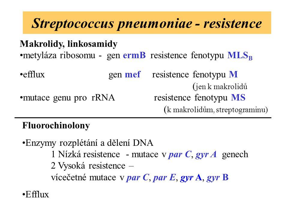 Streptococcus pneumoniae - resistence