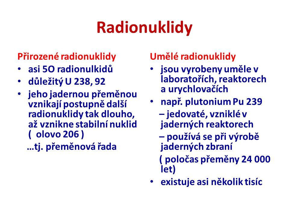Radionuklidy Přirozené radionuklidy asi 5O radionulkidů