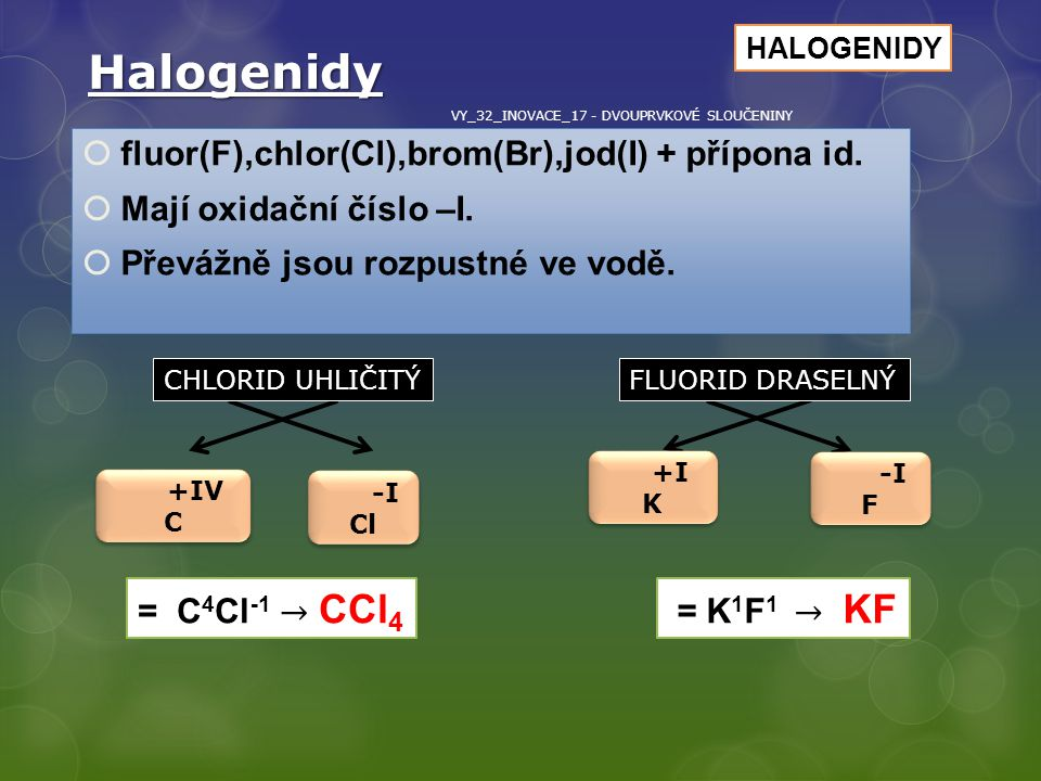 Halogenidy fluor(F),chlor(Cl),brom(Br),jod(I) + přípona id.