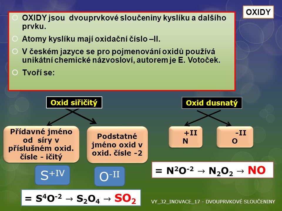 Oxidy S+IV O-II = N2O-2 → N2O2 → NO = S4O-2 → S2O4 → SO2 OXIDY