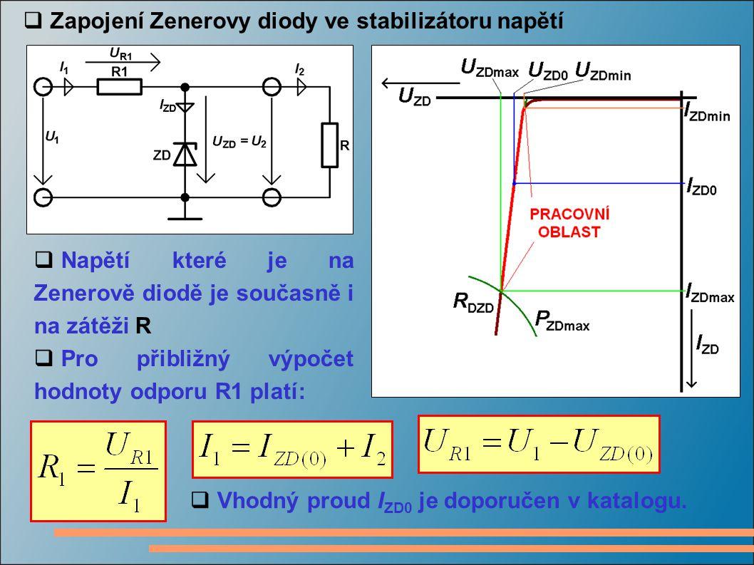 Zapojení Zenerovy diody ve stabilizátoru napětí