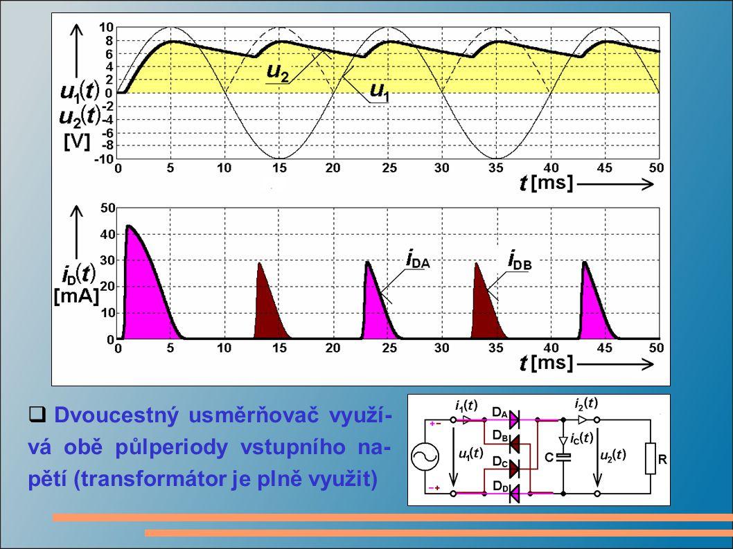 Dvoucestný usměrňovač využí-vá obě půlperiody vstupního na-pětí (transformátor je plně využit)