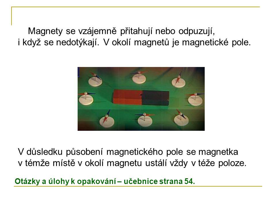 Magnety se vzájemně přitahují nebo odpuzují, i když se nedotýkají