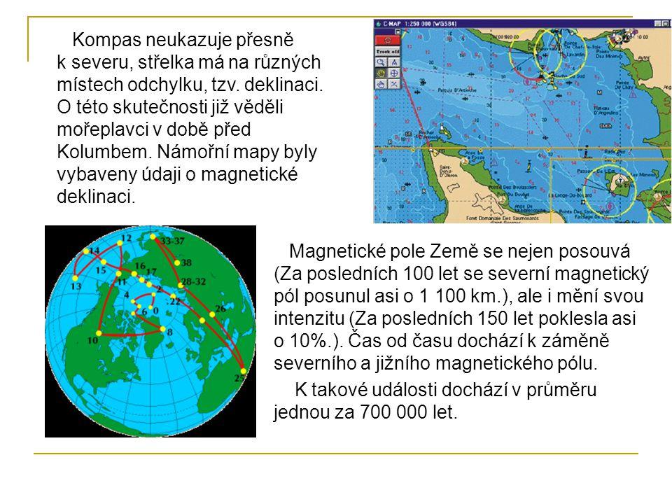 Kompas neukazuje přesně k severu, střelka má na různých místech odchylku, tzv. deklinaci. O této skutečnosti již věděli mořeplavci v době před Kolumbem. Námořní mapy byly vybaveny údaji o magnetické deklinaci.