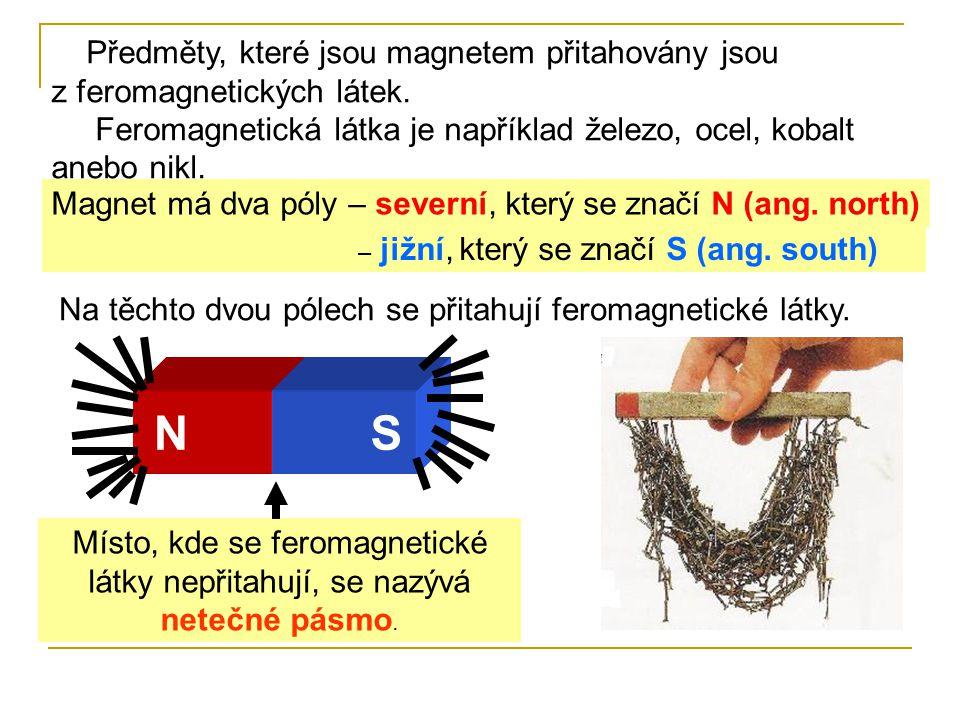 Předměty, které jsou magnetem přitahovány jsou z feromagnetických látek.