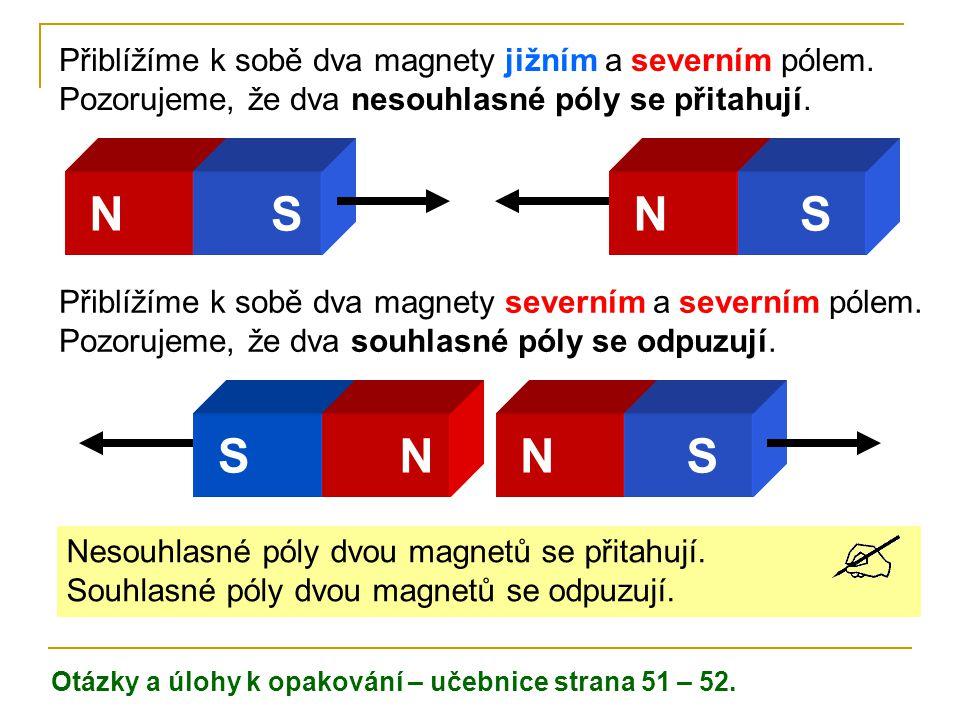 N S N S S N N S Přiblížíme k sobě dva magnety jižním a severním pólem.