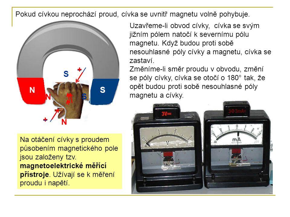 Pokud cívkou neprochází proud, cívka se uvnitř magnetu volně pohybuje.