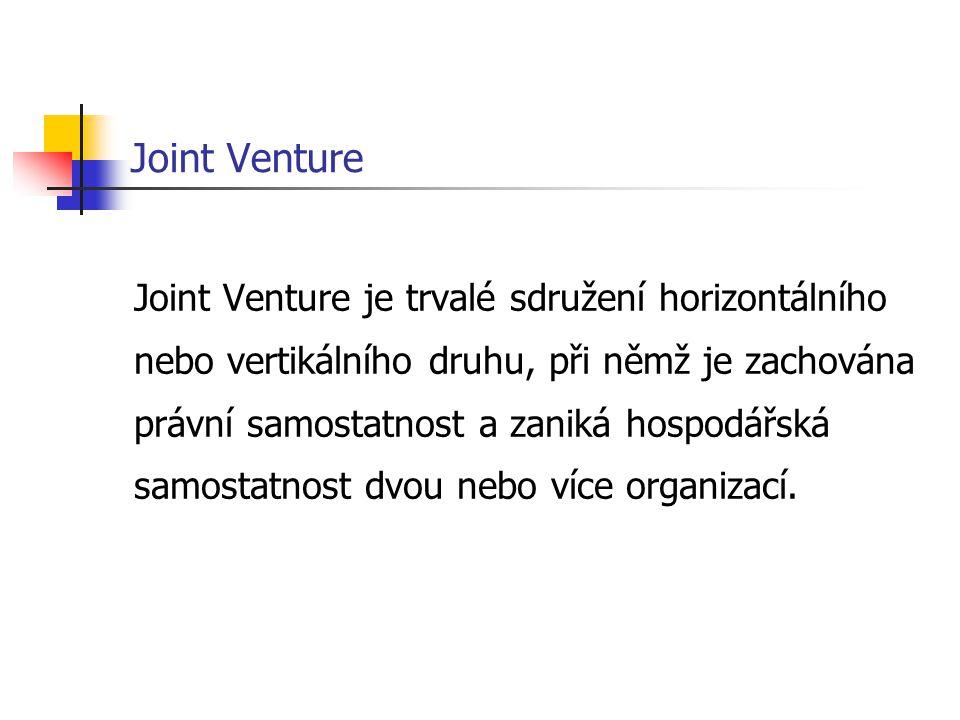 Joint Venture Joint Venture je trvalé sdružení horizontálního