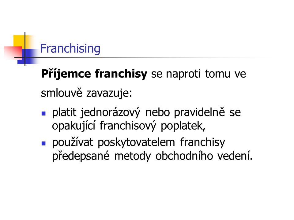 Franchising Příjemce franchisy se naproti tomu ve smlouvě zavazuje: