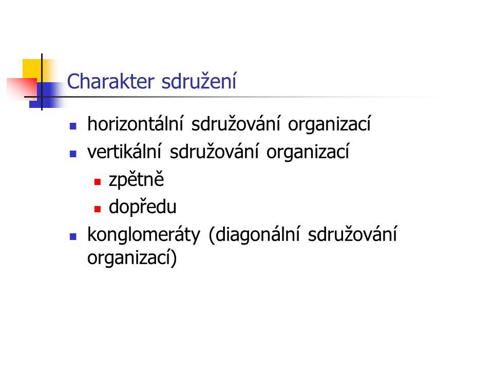 Charakter sdružení horizontální sdružování organizací