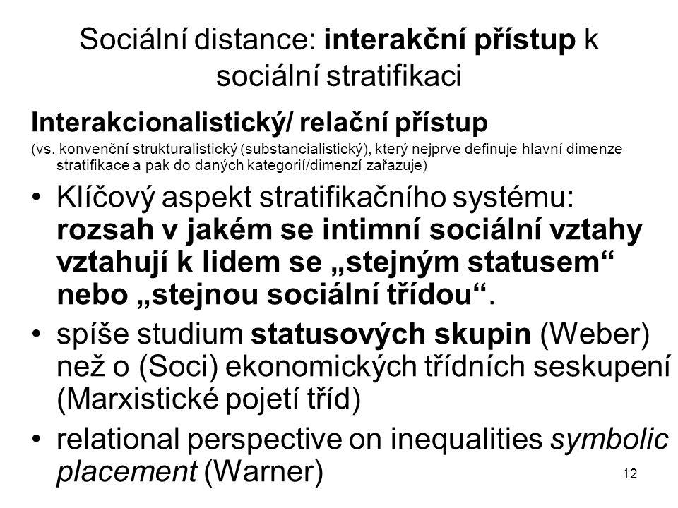 Sociální distance: interakční přístup k sociální stratifikaci