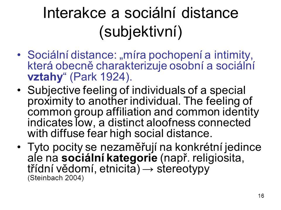 Interakce a sociální distance (subjektivní)