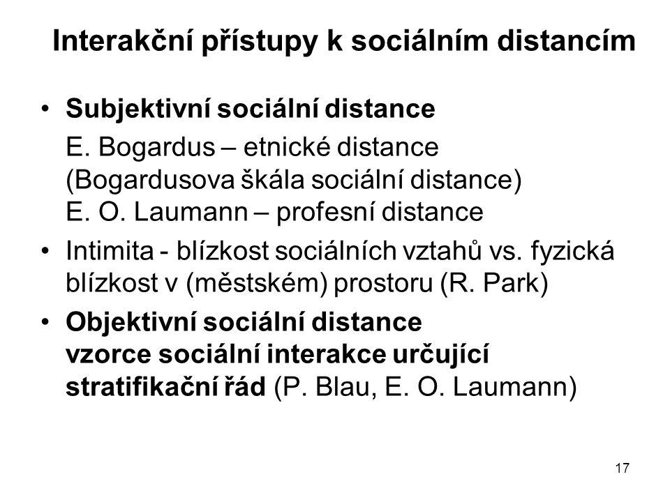 Interakční přístupy k sociálním distancím
