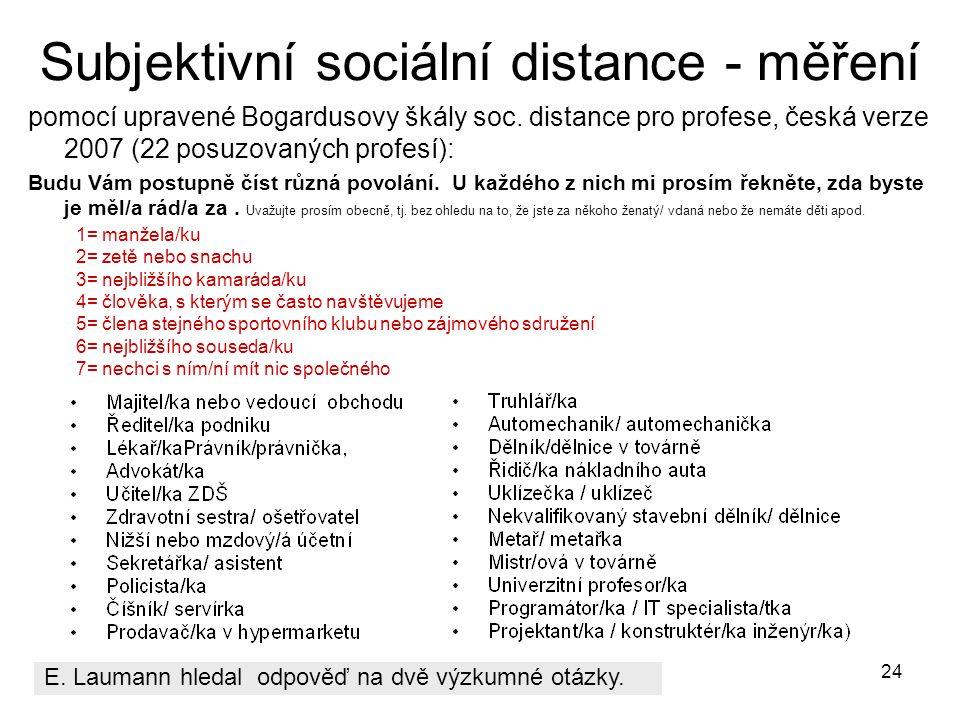 Subjektivní sociální distance - měření