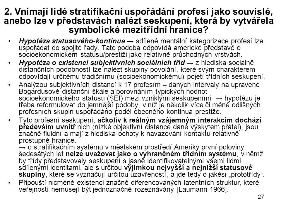 2. Vnímají lidé stratifikační uspořádání profesí jako souvislé, anebo lze v představách nalézt seskupení, která by vytvářela symbolické mezitřídní hranice