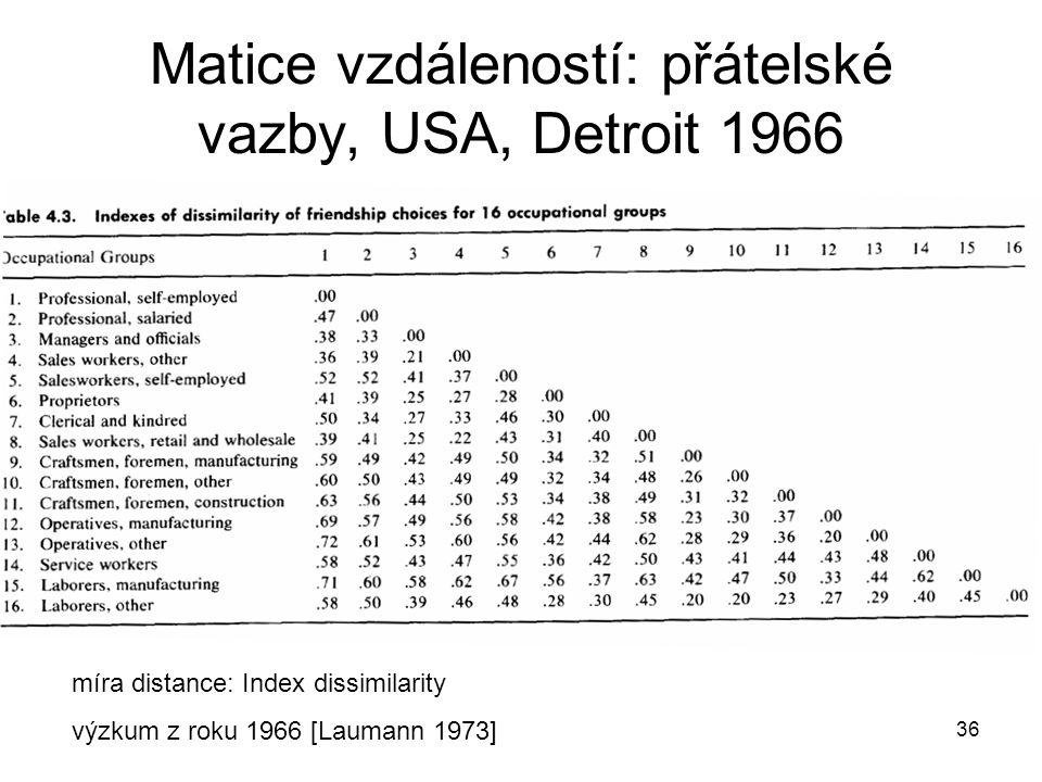 Matice vzdáleností: přátelské vazby, USA, Detroit 1966