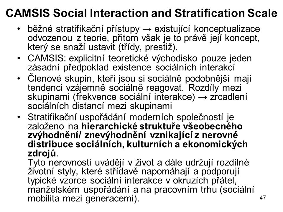 CAMSIS Social Interaction and Stratification Scale