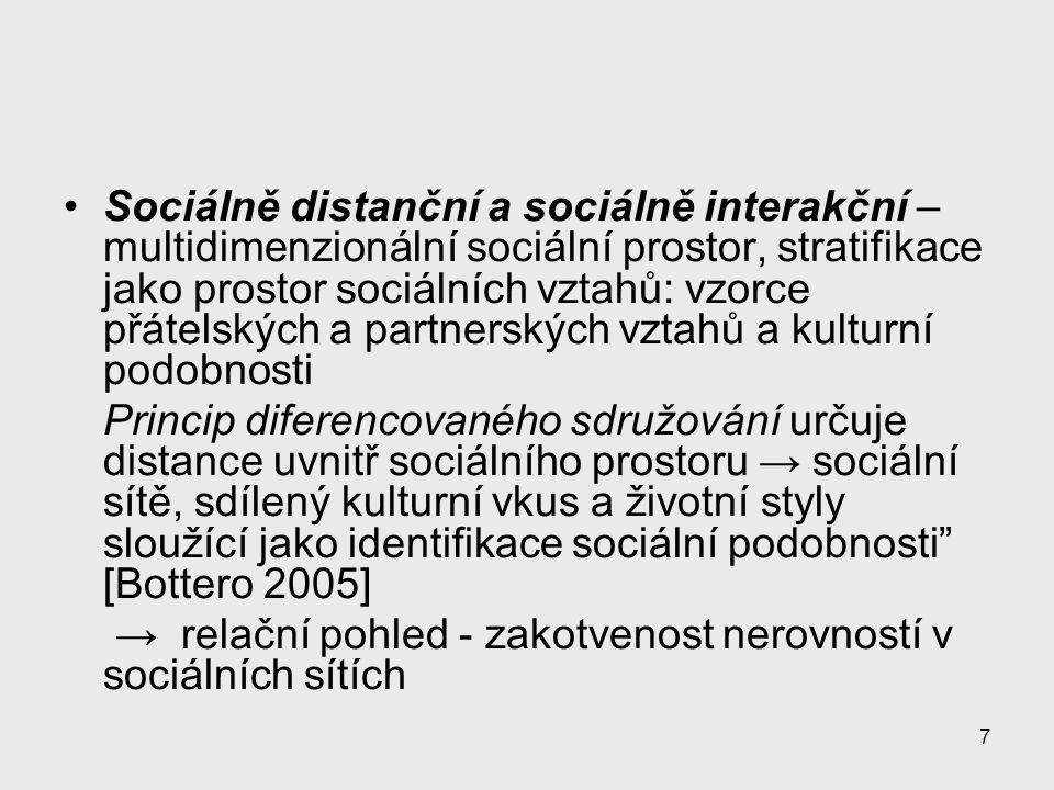 Sociálně distanční a sociálně interakční –multidimenzionální sociální prostor, stratifikace jako prostor sociálních vztahů: vzorce přátelských a partnerských vztahů a kulturní podobnosti