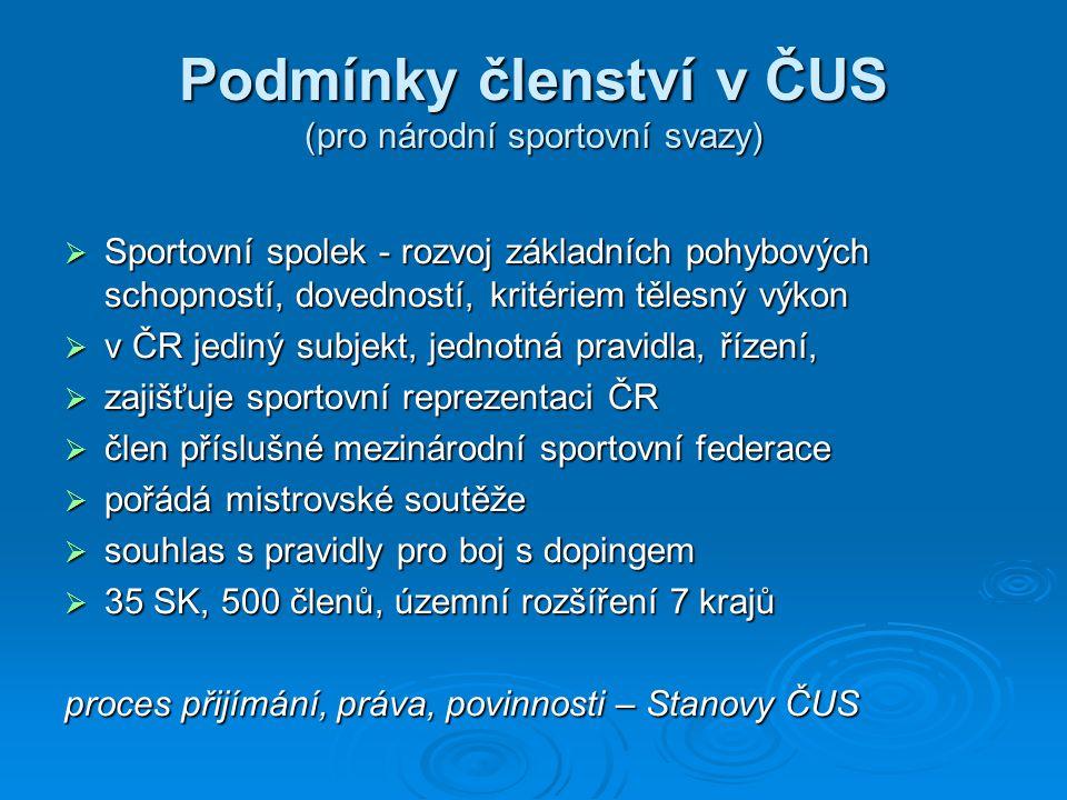Podmínky členství v ČUS (pro národní sportovní svazy)