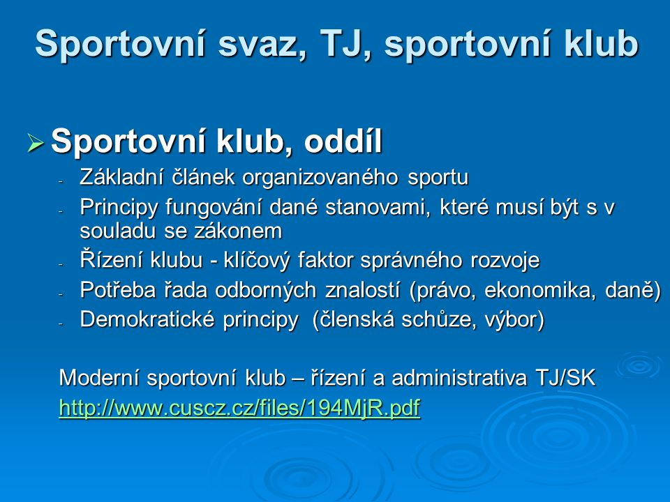 Sportovní svaz, TJ, sportovní klub