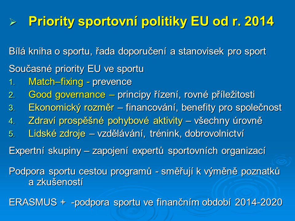 Priority sportovní politiky EU od r. 2014