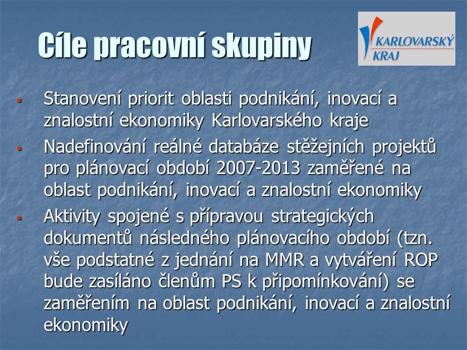 Cíle pracovní skupiny Stanovení priorit oblasti podnikání, inovací a znalostní ekonomiky Karlovarského kraje.