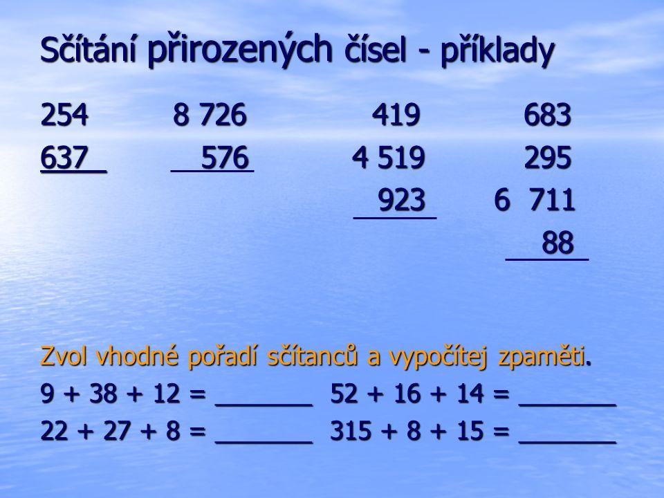 Sčítání přirozených čísel - příklady