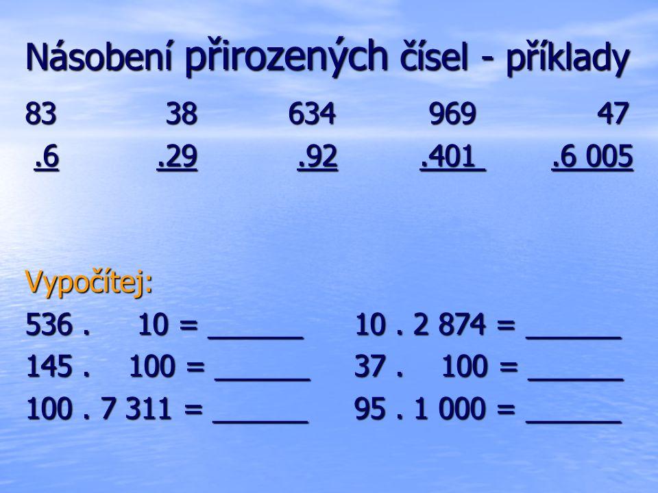 Násobení přirozených čísel - příklady