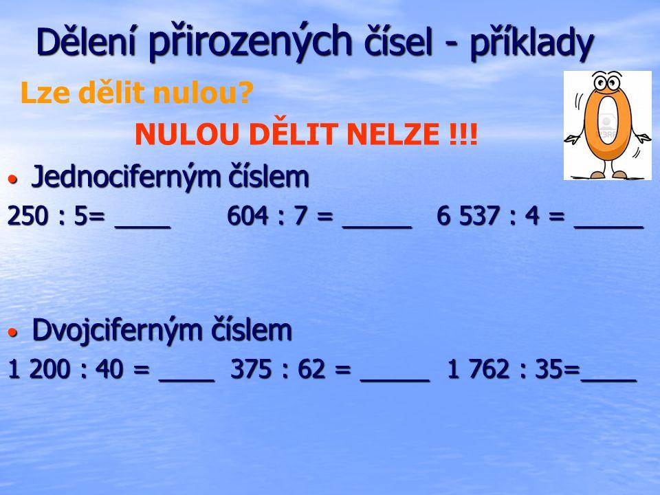 Dělení přirozených čísel - příklady